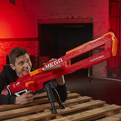 Thunderhawk Nerf AccuStrike Mega Toy Blaster - Longest Nerf Blaster - 10 Official AccuStrike Nerf Mega Darts, 10-Dart Clip, Bipod - For Kids, Teens, and Adults