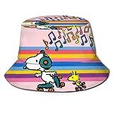 Sombrero de Pescador de Anime Sn-oopy, protección UV de Verano, Sombreros de Cubo de Viaje, Gorra de Sol Plegable para Playa para Hombres y Mujeres-KR