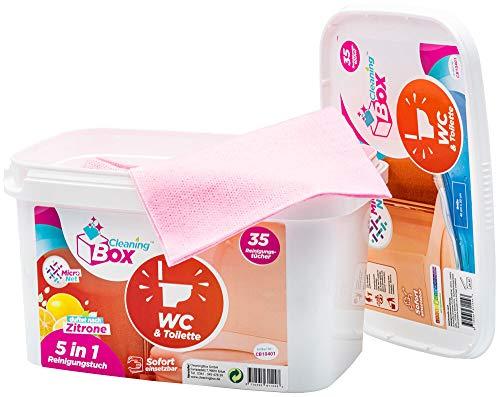 CleaningBox® 5-in-1 Kompostierbare WetCleanWipes Reinigungstücher, 50er Spenderbox, Biologisch abbaubar, 30x30 cm - Made in Germany … (MicroNet WetCleanWipes WC und Toilette)