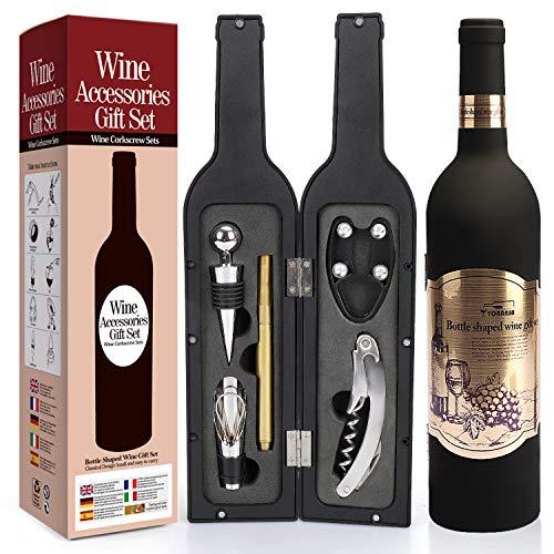 Yobansa Weinflasche geformt Weinzubehör Geschenkset,Weinöffner Set Beinhaltet Weinkorkenzieher,Weinverschlüsse,Weinausgießer (Bottle 03)