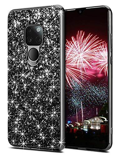 Preisvergleich Produktbild Coolden Huawei Mate 20 Hülle, Glitzer Bling Sparkle Stoßfest Hard PC TPU Bumper Ultra Schlank Schutz Handytasche Hülle für Huawei Mate 20 Smartphone (Schwarz)