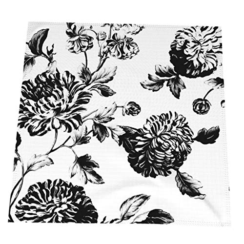 Yutoa-Design Cloth Napkins,Black White Vintage Botanical Floral Toile Dinner Table Napkins Reusable Washable Table Decoration for Home Kitchen Xmas Party,Wedding Hotel Set of 6,20x20 Inches