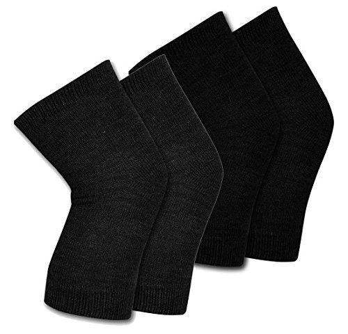 QUEERY Women's Woolen Winter Knee Cap (Black, 2 Pairs)
