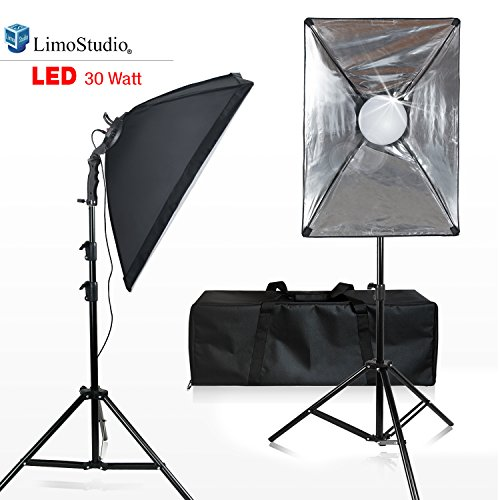 LimoStudio [2-Set] Photo and Video Softbox Lighting Kit with 144 LED Photo Light, 18 x 26 inch Soft Box and White Diffuser, Heavy Duty Adjustable Studio Light Stand Tripod, and Carry Bag, AGG2688
