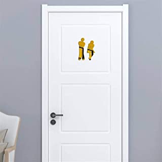 Mxl-Stickers Woman&Man Toilet Sign Mirror Wall Sticker 3D Removable Bathroom Mirror Stickers for Home Hotel Washroom Door Sign Mirror Sticker (Color : A Gold)