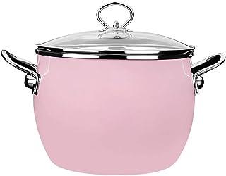 l.e.i. Deepen Enamel Stock Pot Non-Stick Ceramic Coating Induction Cooker/Oven/Dishwasher Safe(Pink/Green)(Color:Pink)