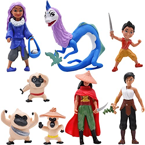 Mini Figuras Set -simyron 8 Pcs Raya y el último Dragón Figuras Cake Topper Decoración de Tartas...