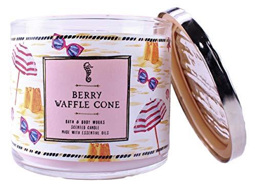 White Barn BBW Berry Waffle Cone 3 Wick Candle Beach Scene
