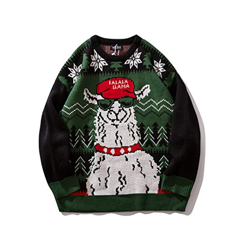 Cuello Redondo Animal Snow Print Suéter Masculino Streetwear Cuople Sweter Pullover Green L
