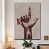 wZUN Pintura al óleo Abstracta sobre Lienzo en la Pared de la Sala de Estar decoración de Imagen de meditación de un Dedo Abstracto 60x90 Sin Marco