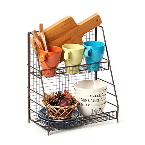 EZOWare Gewürzregal mit 2 Etagen, Drahtkorb Abstellfläche für Arbeitsplatte, Küche, Badezimmer -...