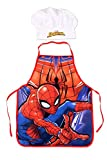 Spiderman Set Mandil y Gorro Cocinero Utensilio de Cocina Acampada y Senderismo Unisex Infantil, Única
