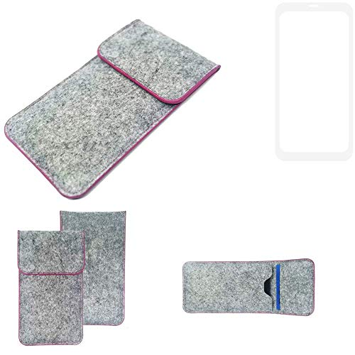 K-S-Trade Handy Schutz Hülle Für Nubia Z18 Schutzhülle Handyhülle Filztasche Pouch Tasche Hülle Sleeve Filzhülle Hellgrau Pinker Rand