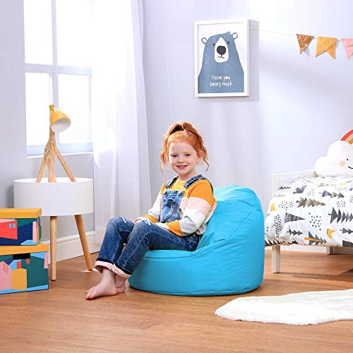 Bean Bag Bazaar Silla Tipo Puf Infantil Clásico – 58cm x 42cm, Puf Grande Infantil para Interiores o Exteriores (Turquesa, 1)