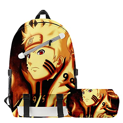 Mochila Anime Naruto, Grande Capacidad 3D Uchiha Sasuke Itachi Akatsuki Anime Cosplay Mochila Escolar+Estuche Harajuku Estudiante Bolso de Escuela Backpack para Portátil Viajes (F)