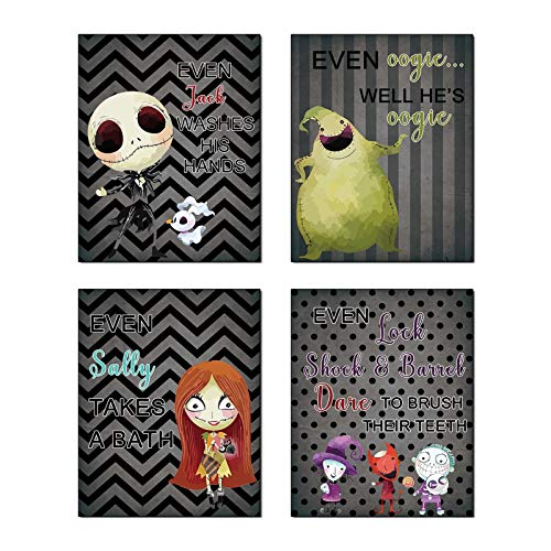 "Cartoons Halloween Theme Will Brush Teeth Take A Bath Wash Hands Bathroom Art Prints Before Xmas Nightmare Set of 4 (8""X10"" Canvas Picture) Kid Halloween Jack Decor Gifts Boys Room Decor Frameless"