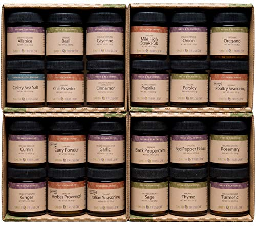 Smith & Truslow Premium Organic Spices & Seasonings Starter Set (Large, 24 Jar) - Wedding Gift Set of 24 All-Natural, Freshly Ground, Gourmet Spices & Herbs