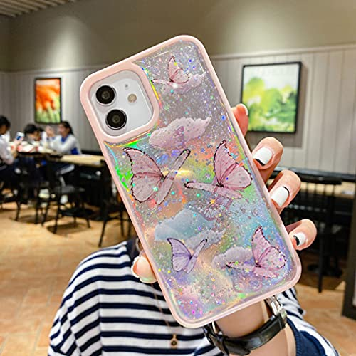 Sitthyw Hülle iPhone XR Crystal Transparent Handyhülle mit Schmetterling Muster Bling Sterne Gel TPU Bumper Case Cover Mädchen Schutzhülle Stoßfest für iPhone XR, Rosa Laser