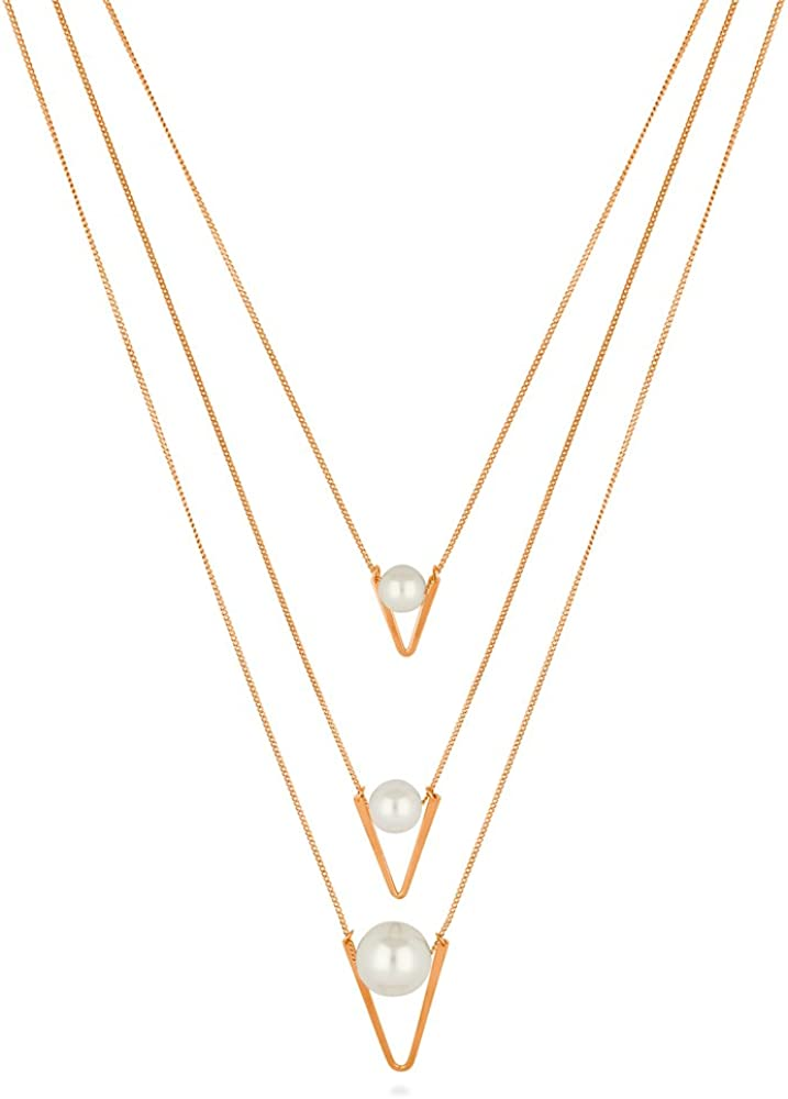 BERRICLE Rose Gold Flashed Base Metal Imitation Pearl V Shaped Fashion Layered Necklace