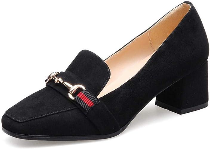 AJUNR Femmes Loisirs Le Printemps des Chaussures De Femme Version Coréenne Baicravate Talons Hauts 5 Cm Petites Chaussures en Cuir