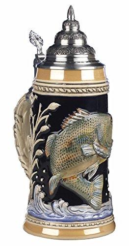 King Jarra de cerveza alemana con relieve, pescador de caña, jarra 0,75 litros