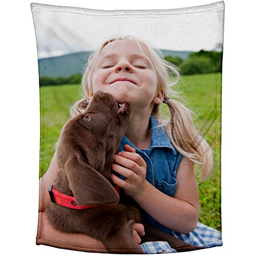 "YesMae Custom Blankets with Picture and Text, Personalized Flannel Throw Blanket Best Gifts for Pets Family Friend Birthday and Wedding (39"" x 59"")"