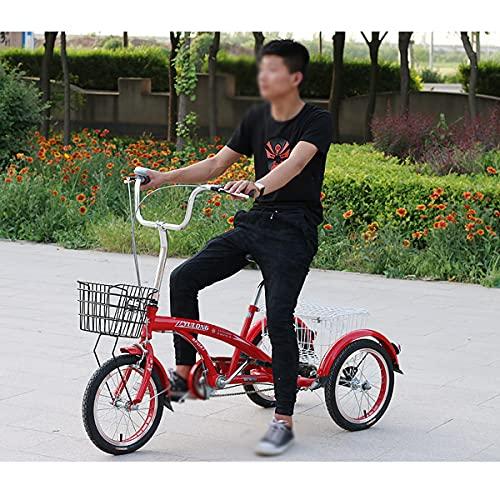 Triciclo para Adultos Triciclo De La Montaña De 16 Pulgadas con La Cesta De Carga Bicicleta Adulta De Tres Ruedas para Hombres Y Mujeres Complete La Playa Cruiser Trike - Rojo(Color:Rojo)
