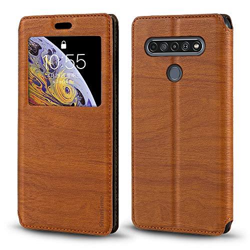 LG K61 Schutzhülle, Holzmaserung, Leder, mit Kartenhalter & Fenster, Magnetverschluss, für LG Q61