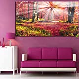 Forest with Sunshine Autumn Scenery Canvas Painting HD Print Picture on Canvas Modern Wall Art Decor 40x70cm