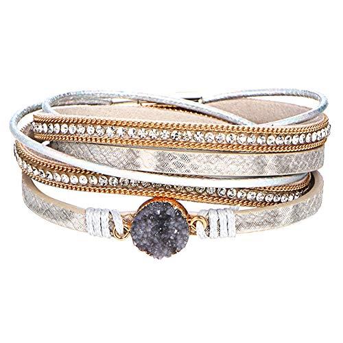 XQxiqi689sy Bracelet Bangle Multi-Layer hecho a mano piel sintética Wristlet Círculo Shint Rhinestone Gorro joyas Golden