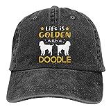 Dyfcnaiehrgrf Life is Golden with A Doodle Gorra de béisbol unisex retro para entrenamiento, sombrero para mujer, color negro