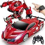 Coche de juguete de transformación a control remoto, 2 en 1 Robot de juguete Coche de control remoto para niños Niños Transformación de un botón y deriva de 360 velocidades e iluminación de coche de
