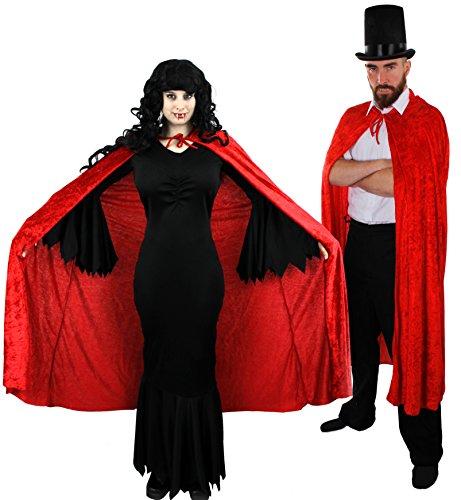 Ilovefancydress - Coppia costumi per vampiro e vampira, vestito lungo e nero, stile dark con mantello in velours nero per lei; cappello a tuba con mantello in velours nero per lui; 2 dentiere da vampiro; 2 trucchi per viso; sangue finto per 2; taglie da XS a XXL