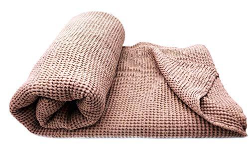 JOWOLLINA XXL Waffelpique Bettüberwurf Plaid Decke Halbleinen Stonewashed (230x250 cm, Cacao)