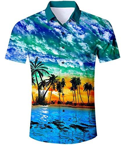 AIDEAONE AIDEAONE Herren Hawaii Kurzarm Regular Fit Hemd Sommerhemd Hemd Blau