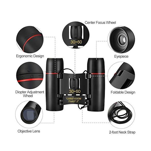 Binoculars for Adults, Oladwolf 30 x 60 Compact Binoculars for Bird Watching, Hiking, Hunting, Sightseeing, Small Night Vision Binoculars Waterproof Folding Telescope Pocket Binocular