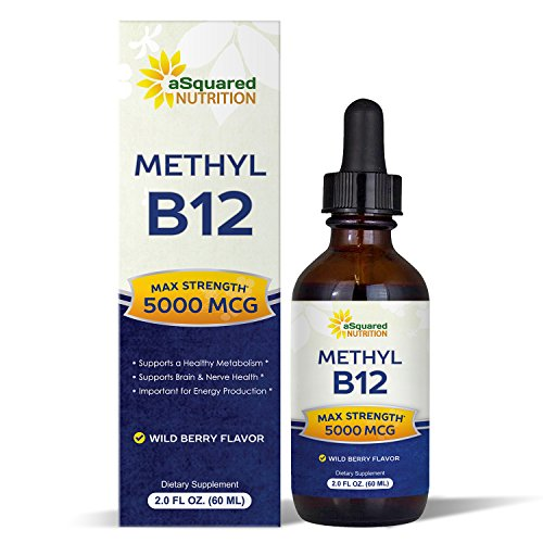 Vitamin B12 Sublingual Liquid Drops - 5000 MCG Supplement with Methylcobalamin (Methyl B-12) - Max Absorption B 12 to Increase Energy & Metabolism - Vegan Friendly - 2 fl oz