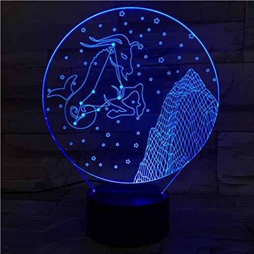 LWJZQT 3d nachtlicht Steinbock 3D Lampe Nachtlicht Led Birne Multi-Color Flash Holiday Props Geschenke Für Kinder Guardian Star Uranus Kaos