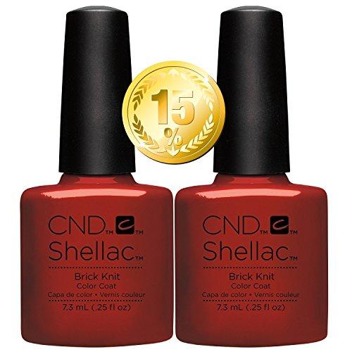 CND Shellac Vernis à ongles UV/LED Power polonais, Brique en tricot 7.3 ml – Lot de 2