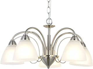 VINLUZ 5 Light Contemporary Chandeliers Brushed Nickel Pendant Lighting Mid Century Modern Ceiling Light Fixtures for Dining Room Bedroom Hallway Kitchen and Foyer
