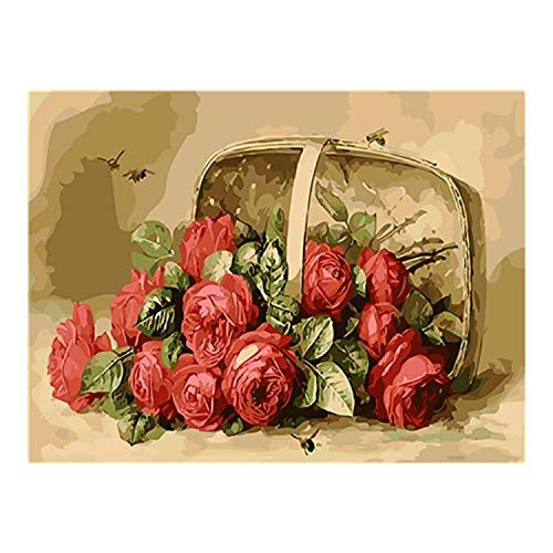Small Lake Färbung Farbe nach Zahlen für Erwachsene Ölgemälde nach Nummer nummerierte Gemälde Zahlen Kunst Bild Blume in Vase Sonnenblumenfarbe nach Nummer 18-50x65cm Kein Rahmen