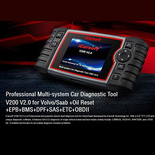 iCarsoft Auto Diagnostic Scanner V200 V2.0 for VOLVO/SAAB with ABS Airbag Scan,Oil Service Reset EPB BMS BLD INJ ect