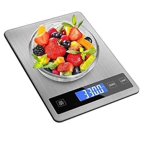 REEXBON balanza Cocina,Báscula Digital para Cocina de Acero Inoxidable, 15 kg 33 LB, Pantalla de LCD, Balanza de Alimentos Multifuncional, Básculas de Cocina, con 2 Baterías & USB Cable
