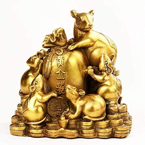 LULUDP-Decoración Figurines Feng Shui Riqueza Estatua Ornamento latón Cinco Ratas Escultura Fortuna Figurita Regalo de decoración, atraer abundancia y Buena Suerte, latón, Color: Latón Manualidades