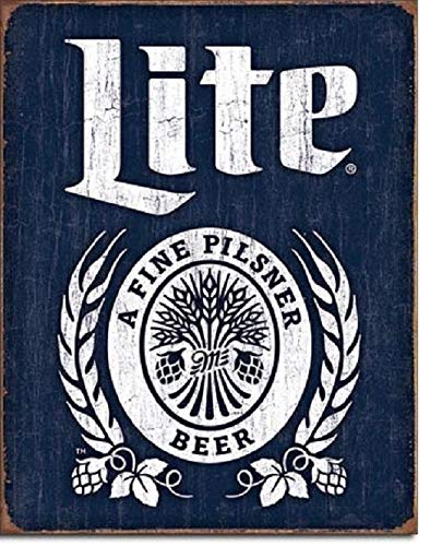 SRongmao Miller Lite Cerveza Botella Logo Desgastado Retro Bar Pub Wall Art Decor Metal Lata Sign 8 x 12 in