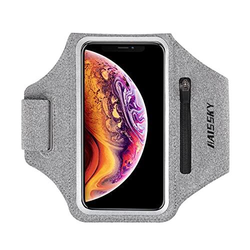 """Sportarmband Handytasche Running Armband für iPhone 11/11 Pro/XR/XS/8/7/6S, Samsung Galaxy A50s/A30s/S10/S9/S8, Huawei Mate 30 Pro/P30/P20, bis zu 6,9\"""", Touch ID, Armband mit Kopfhörer Unterstützung"""