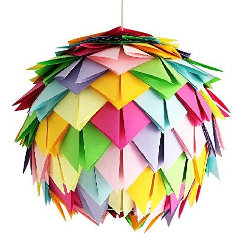 Crazy Harlekin, Ø 35cm, bunte Papierlampe Hängelampe Lampe Lampenschirm Pendellampe Designerlampe Deckenlampe Leuchte AUS PAPIER + Lampenfassung E27 für LED Glühbirne Origami