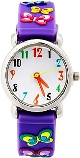 Hemobllo Kids Watches 3D Cute Cartoon Wrist Watch Butterfly Sports Watches Time Teacher Birthday Boys Girls Little Child (Purple)