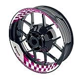 OneWheel Felgenaufkleber für Motorrad - Renngrib - passend für 17' Felgen/Vorder- und Hinterrad beidseitig | Zweiteiliger Aufkleber | Premium Felgenrandaufkleber - Design1 - komplettes Set (pink)