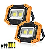 Rechargeable LED Work Light,Sonee 30W 1500 Lumens Ultra Bright Portable Work Lights with Stand Battery Powered Flood Light for Garage Outdoor Camping Emergency and Job Site Lighting (YELLOW/2PACK)